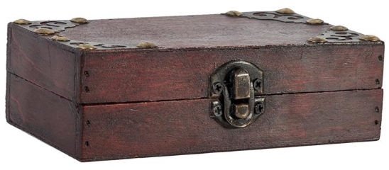 Home4you Wooden Chest BAO 14.5x8.5xH4.5cm Red