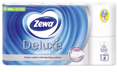 PAPĪRS WC ZEWA DELUXE WHITE 3SL 8GAB