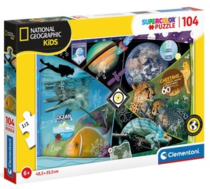 Clementoni Puzzle SuperColor National Geographic Kids Explorers in Training 104pcs 25715