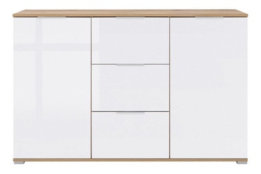 Kumode Black Red White Zele White Oak, 135x41x86 cm