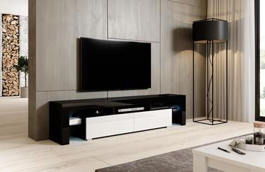 TV galds Cama Meble Toro 200, balta/melna, 2000x400x410 mm