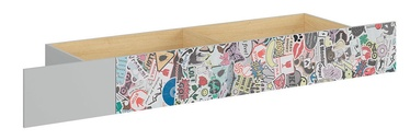 Black Red White Nandu Bed Drawer Grey/Oak/Sticker