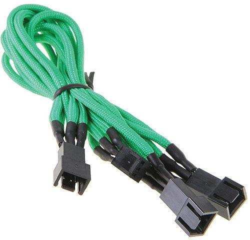 BitFenix 3-Pin to 3 x 3-Pin Splitter for Fans 60cm Green/Black