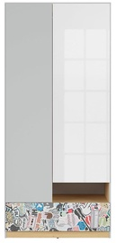 Spinta Black Red White Nandu Gray/Oak/White/Sticker, 90x55x200.5 cm