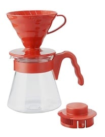 Hario Plastic Coffee Sever Set Red