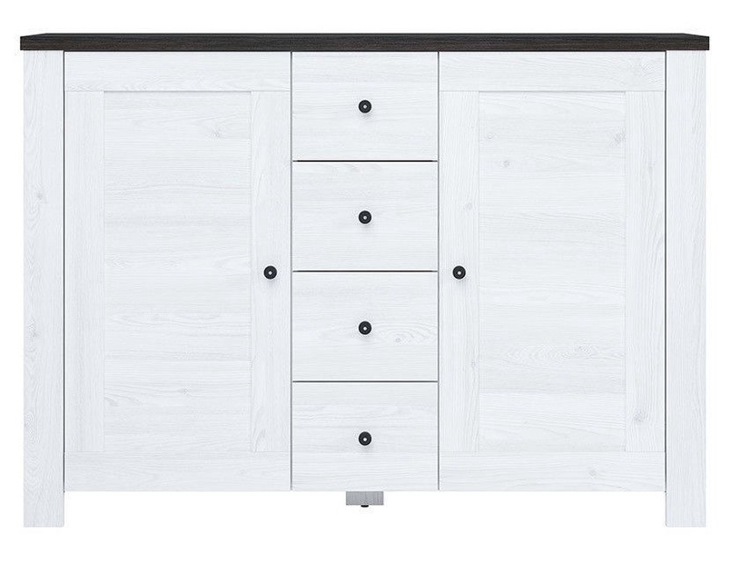 Black Red White Antwerpen Chest Of Drawers 40x140x100.5cm White