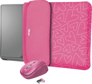 "Trust Yvo Reversible 15.6"" Laptop Sleeve + Wireless Mouse Pink Hearts"