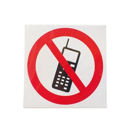 No Cell Phone Use Sign Sticker 140x140mm Multicolored