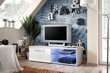 TV galds ASM Bono IV White/White Gloss, 1200x450x350 mm