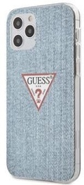 Guess Denim Triangle Back Case For Apple iPhone 12 Pro Max Light Blue