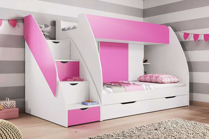 Divstāvīga gulta Idzczak Meble Marcinek White/Pink, 255x125 cm