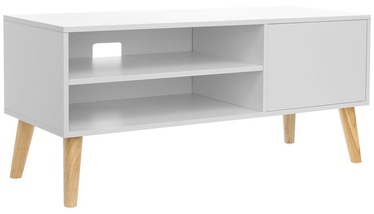 TV galds Songmics White/Wooden, 1100x400x495 mm