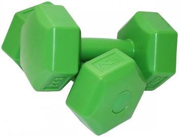 SportVida Hexagonal Shape Dumbbell Set Green 2x2kg