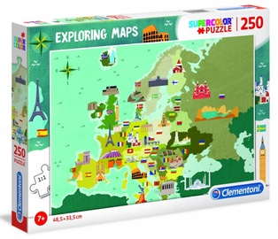 Puzle Clementoni Super Color Puzzle Exploring Maps Great Places In Europe 725402, 250 gab.