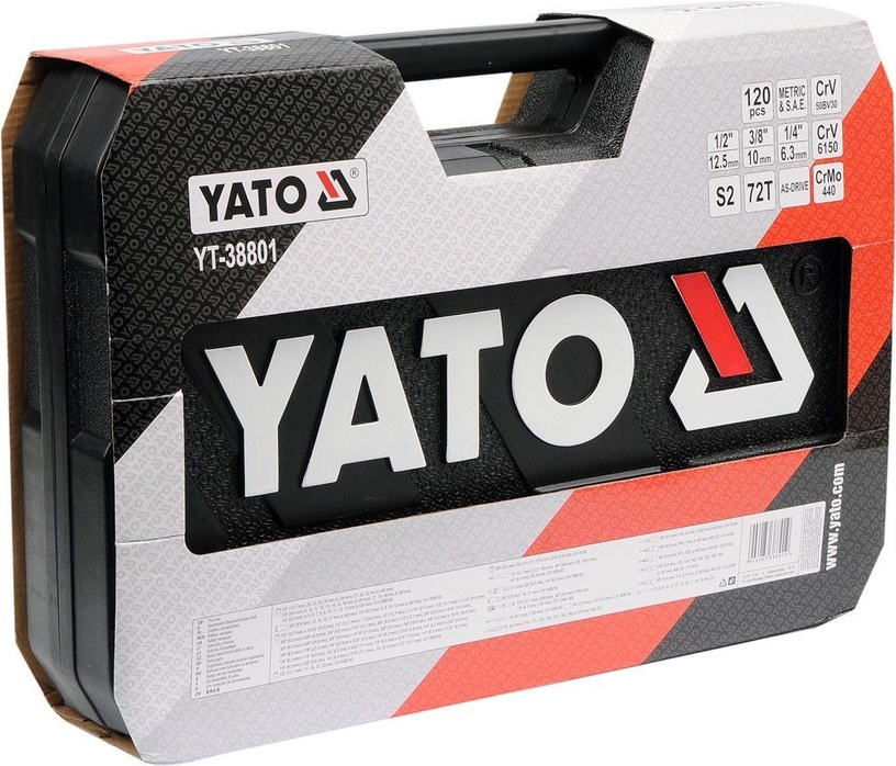 Yato YT-38801 Tool Set 1/4'' 1/2'' 3/8'' 120pcs