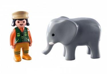Playmobil 1-2-3 Zookeeper With Elephant 9381