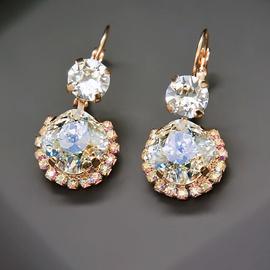 Diamond Sky Earrings With Crystals From Swarowski Klaris VI Crystal Moonlight