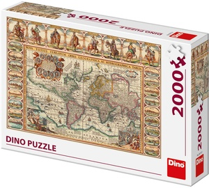 Puzle Dino Antique World Map, 2000 gab.