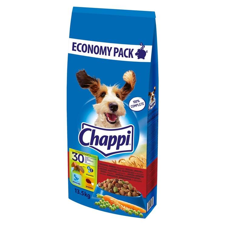 Sausas ėdalas šunims Chappi, su jautiena ir paukštiena, 13.5 kg
