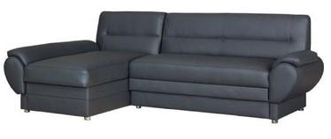 Bodzio Livonia Left Corner Folding Sofa Eco Leather Dark Gray