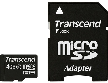 Transcend 4GB Micro SDHC Class 10 + Adapter