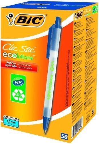 BIC ECO Clistic 1mm Ballpoint Pens Blue 50pcs