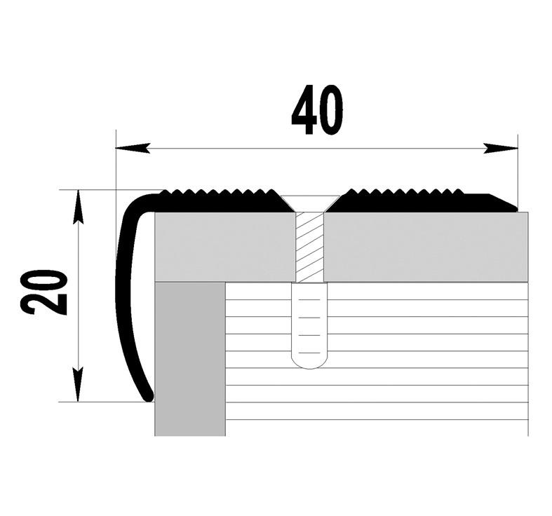 Laiptų kampas D13, sidabro, 270 x 4 x 2 cm