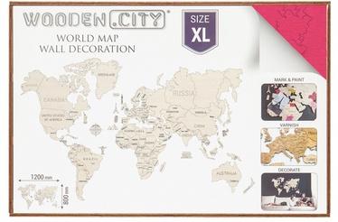 Puzle Wooden City World Map XL Coral, 48 gab.