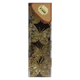 Kalėdinė dekoracija Drugelis RD15-1454G, 4 vnt.