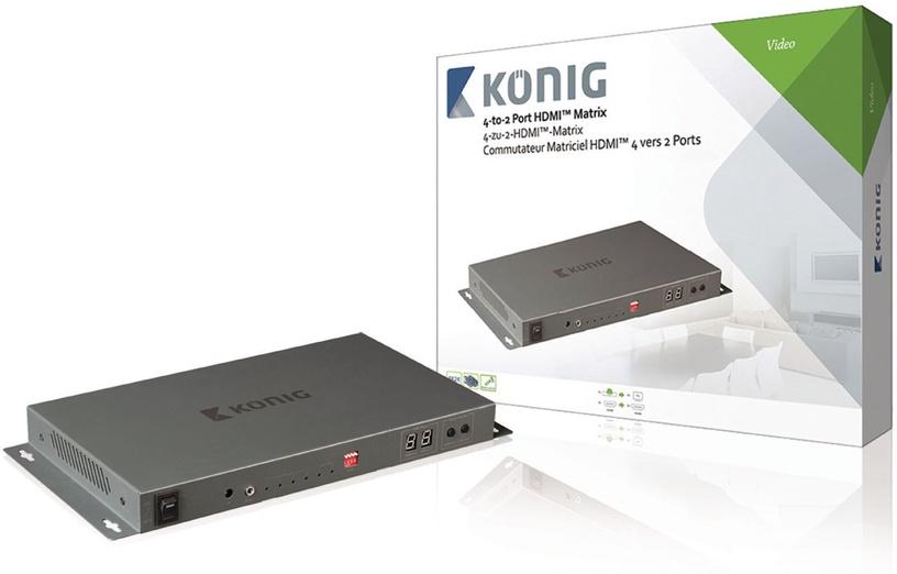 Konig 4 x 2-Port HDMI Matrix Switch Dark Grey