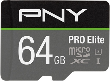 PNY PRO Elite microSDXC 64GB UHS-I Class 10 W/Adapter