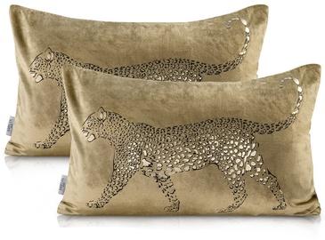 AmeliaHome Nancy Pillowcase 30x50 Gold Leopard 2pcs