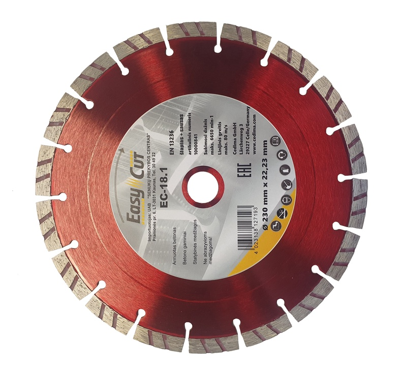 Dimanta griezējdisks Cedima EC-18, 125x1,9x22mm