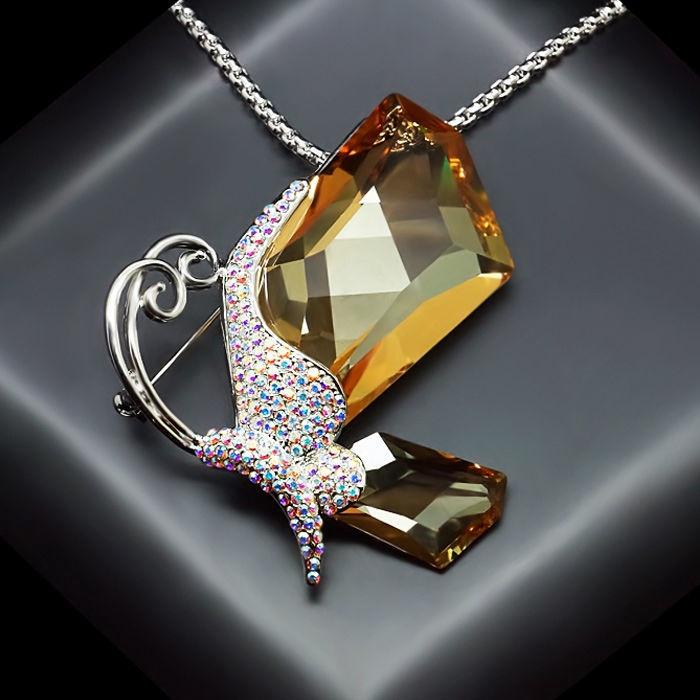 Diamond Sky Pendant Iridescent Moth II With Swarovski Crystals