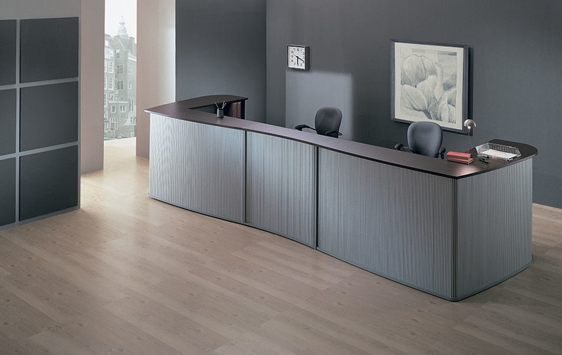 Skyland Offix New OMC 1815 Corner Reception Desk Right Legno Dark/Metallic