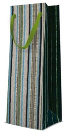 Paw Decor Collection Gift Bag Bottle Stripe Texture 12x10x37cm