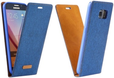 Forcell Canvas Flexi Vertical Book Case For Samsung Galaxy J1 J120 Blue