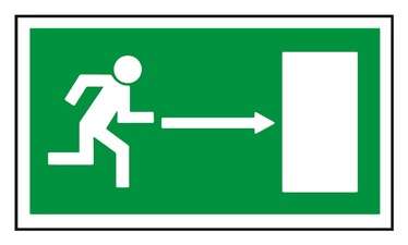 Exit Right Sign Sticker 240x135mm Green/White