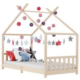 Детская кровать VLX Solid Pine Wood 283364, коричневый, 146x78 см