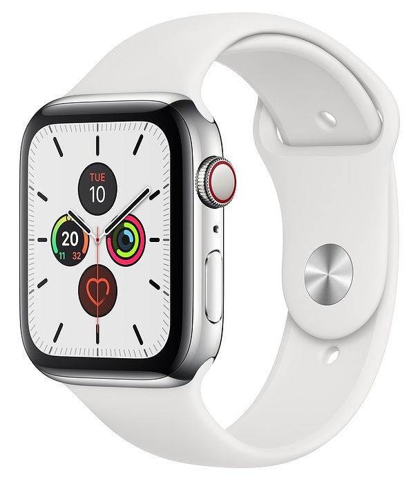 Išmanusis laikrodis Apple Watch Series 5 44mm GPS Stainless Steel Case with White Band Cellular
