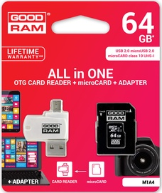 Goodram M1A4 All in One microSDXC 64GB Class 10 UHS-I C U1 + Adapter microSD-SD + OTG Card Reader