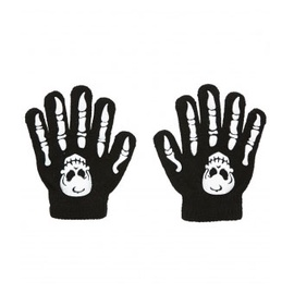 Helovīna cimdi skeleta rokas, bērniem, melni, 6 pāri