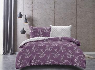 DecoKing Hypnosis Calluna Bedding Set Violet/Cream 200x200/80x80 2pcs