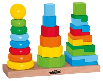 Woodyland Wooden Color Stacking Pyramids Towers Set 25pcs 90836