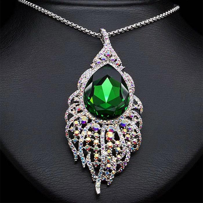 Diamond Sky Pendant Peacock Feather With Swarovski Crystals