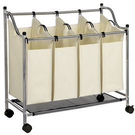 Songmics Laundry Cart 4 Bags White
