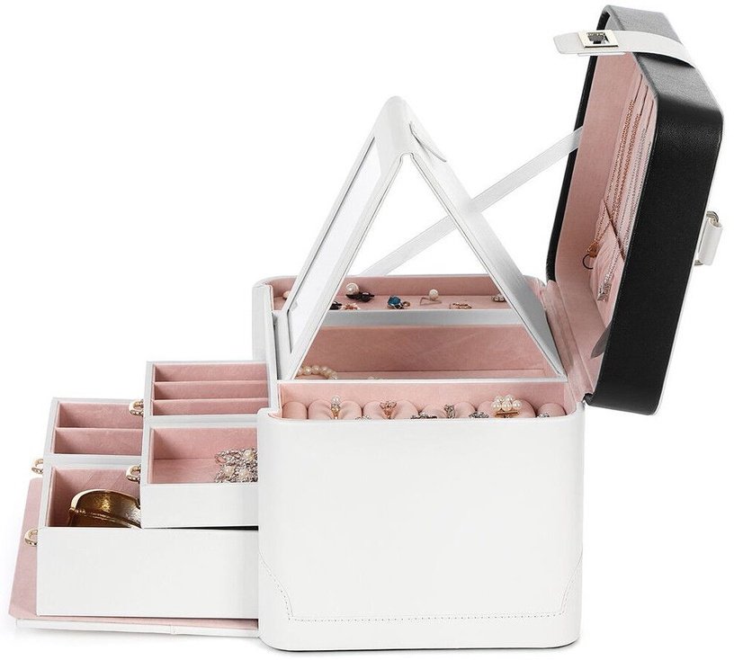 Songmics Jewelry Box White/Pink 26x18x18cm