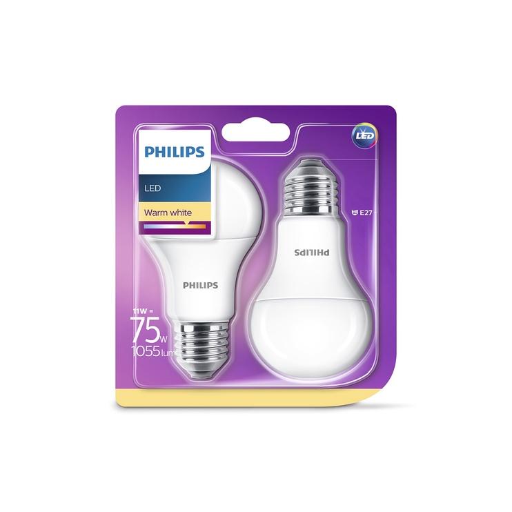 SPULDZE LED LAMP 11W E27 827 A60 FR 2PCS (PHILIPS)