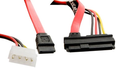 4World HDD Cable 29pin SAS To 7pin SATA 0.45m Red