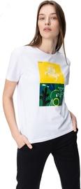 Audimas Womens Short Sleeve Tee White Yellow Green Printed S